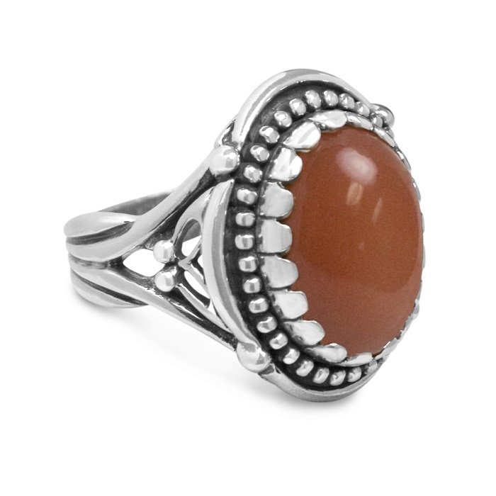 Carolyn Pollack Peach Moonstone Ring Rich Color In A