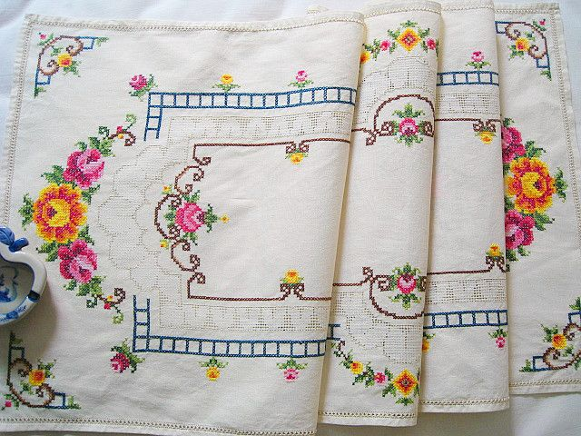 Exquisite leptonema handmade cross stitch table runner placemat tea set saucer cloth fashion
