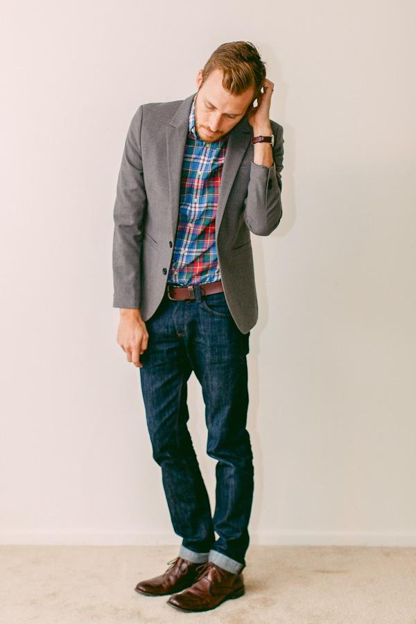 Grey sport coat, plaid shirt, jeans Grey sport coat