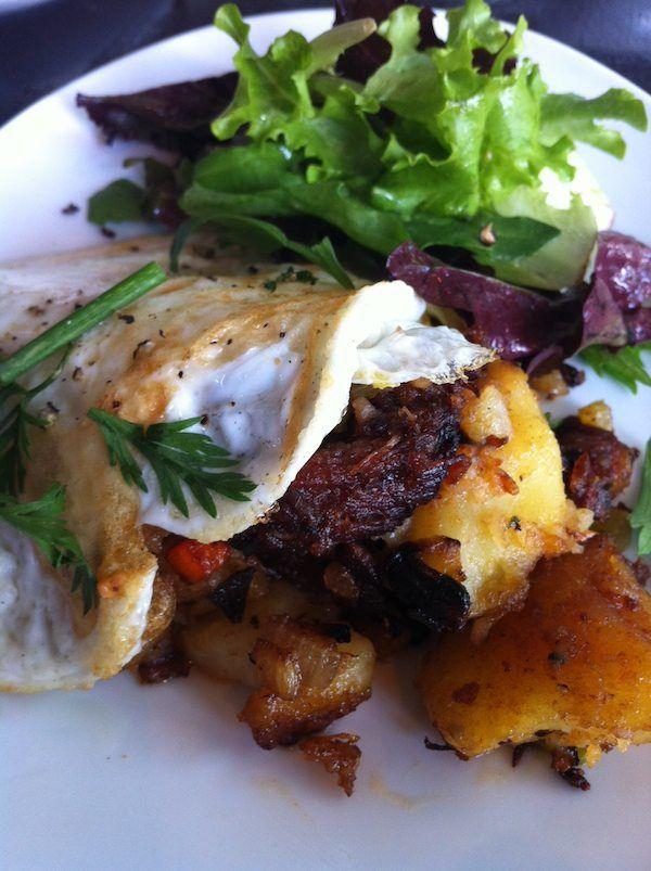 Breakfast at The Churchill: Short Rib Hash & Eggs