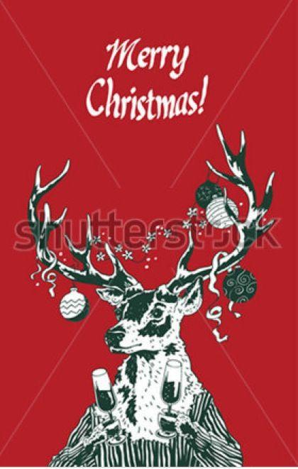 Reindeer holding champagne glasses postcard for Christmas #christmas #greeting #champagne #new year #red