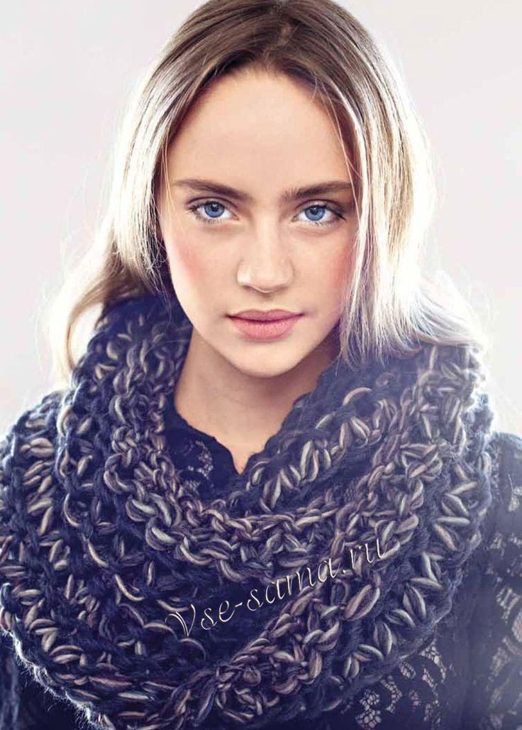 Серый шарф-хомут, фото