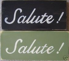 SALUTE Italian Tuscany Decor Sign Italy Pub Cheers! Bar Plaque U-Pick Color Wood