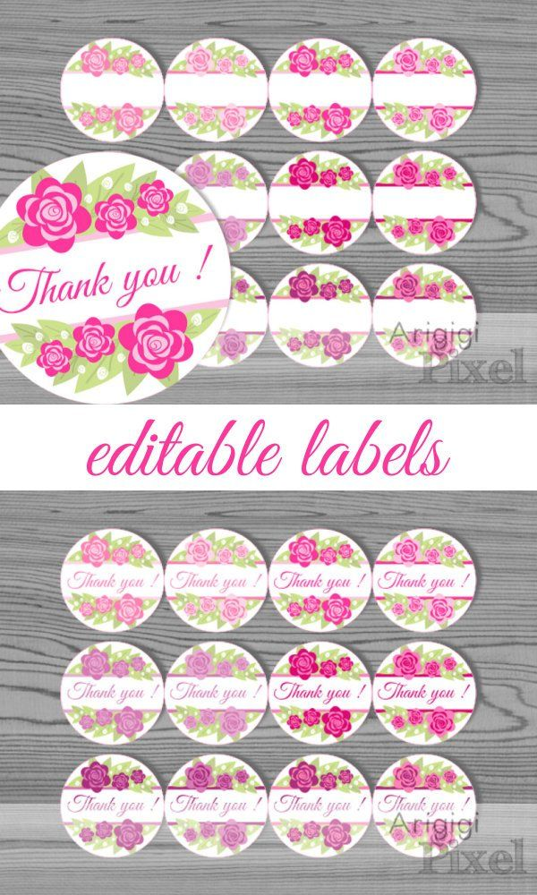 printable pink flowers labels template thank you and blank 2 5 in