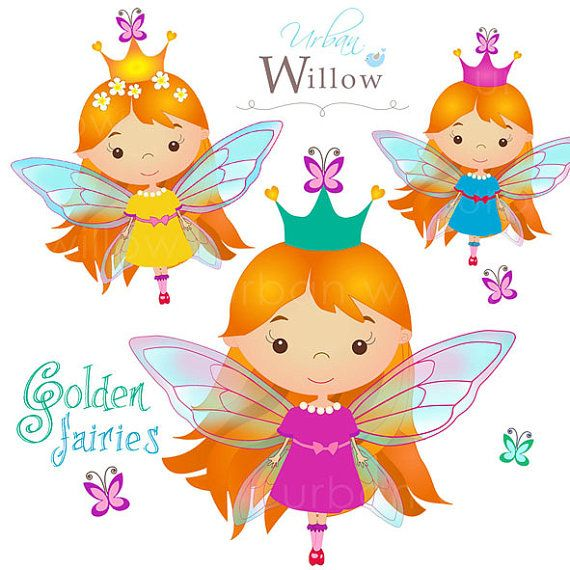 GOLDEN FAIRIES clip art set Png & Jpeg files. by UrbanWillow