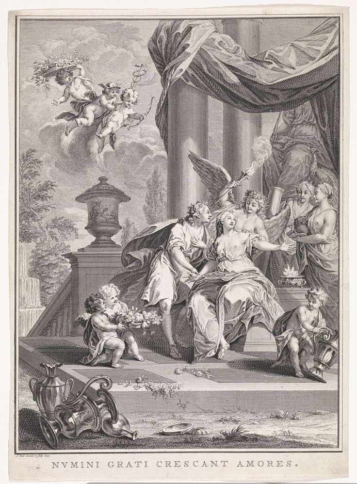 Liefdespaar in tempel van Juno, Jan Punt, 1739