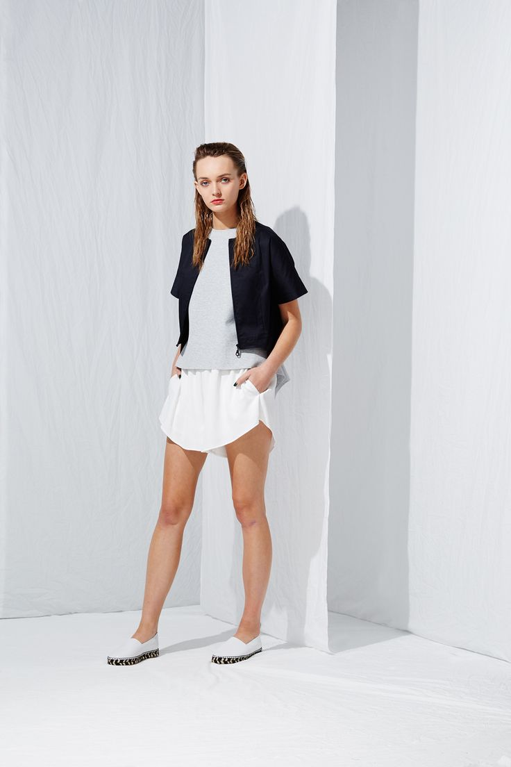 Short Sleeve French Jacket x Drape Back Top x Pull On Shorts from the latest L.W.B. collection by Australian fashion designer LIFEwithBIRD Summer'15
