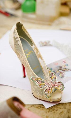 Pastel beaded butterfly wedding shoes.  www.diamondconsignmentstore.com  Keywords: #butterflyweddings #jevelweddingplanning Follow Us: www.jevelweddingplanning.com  www.facebook.com/jevelweddingplanning/