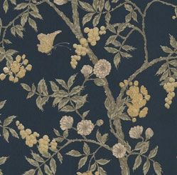 P6GR63111 | Leaf wallpaper  1900's Traditional blue and grey leaf wallpaper with butterfly  27 inch x 13.5 feet  $19.00
