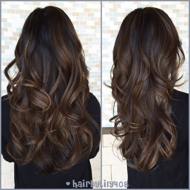 """493 Likes, 52 Comments - Lily Duong (@hairbylily408) on Instagram: """"natural balayage Highlights for Nguyet! #hairbylily408 #colorist #lorealprous #smokey #balayage…"""""""