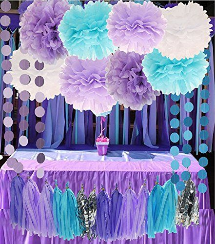 26 Pieces Purple, Lilac, Blue, White And Silver