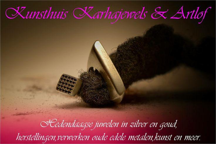 Zilver ring bezet met 25 zwarte spinel steentjes.  www.karhajewels.be