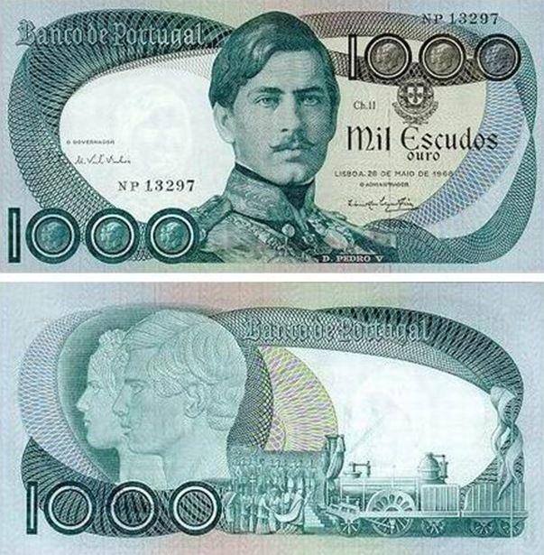 Portugal - 1000 escudos – D. Pedro V Entrada em circulação: 15-11-1979 Retirada de circulação: 31-10-1991