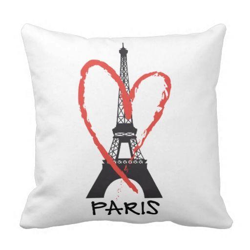 I Love Paris With Eiffel Tower Throw Pillow Nice Look