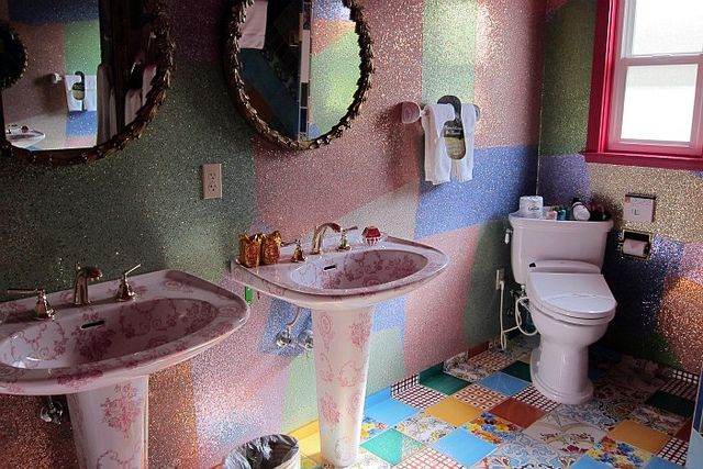 Two Words: GLITTER. WALLS.     Bathroom in the What's Left Room @ The Madonna Inn #glitter #decor
