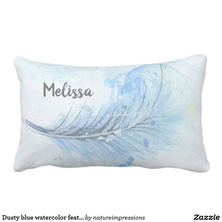 Dusty blue watercolor feather add your name