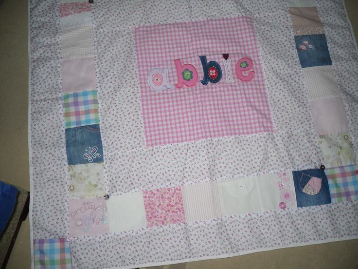 Hand sewn quilt for my granddaughter, made from her old baby clothes