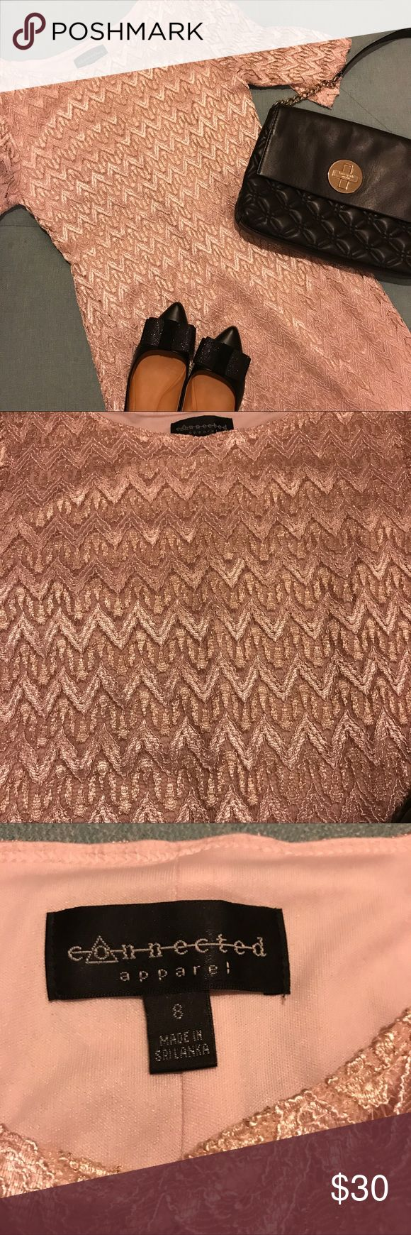 Bergners/Connected Apparel - Rose Gold Lace Dress Beautiful, chevron patterned lace dress! Worn once in a wedding. No longer need. Hits below the knees. Fits more like a small/medium. Dress has some stretch to it. Fully lined! No tears, snags, or stains. Offers welcomed! Dresses Midi