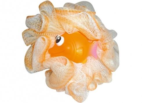 SPUGNA BAGNO PESCE. Spugna bagno con piccola applicazione in plastica di un pesciolino di colore arancione