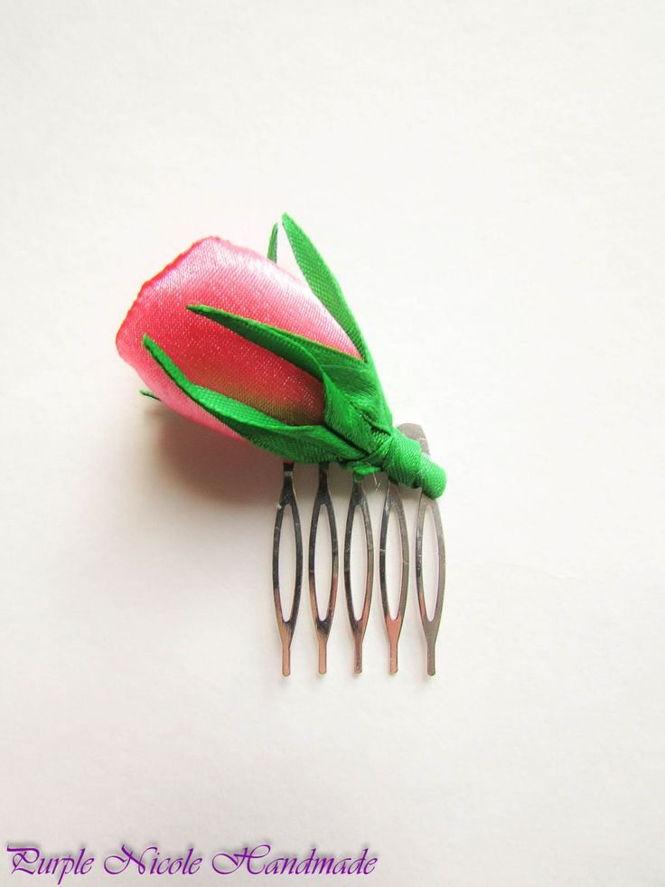 Two Colors Rose - Handmade Decorative Hair Comb by Purple Nicole (Nicole Cea Mov). Materials: green satin leaves and stem, white and pink satin rose, all handmade.