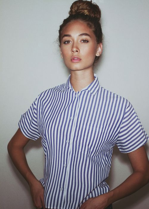 Cute & simple, striped, collared button-down. Could be perhaps paired with simple, rolled skinnies and ankle combat boots.
