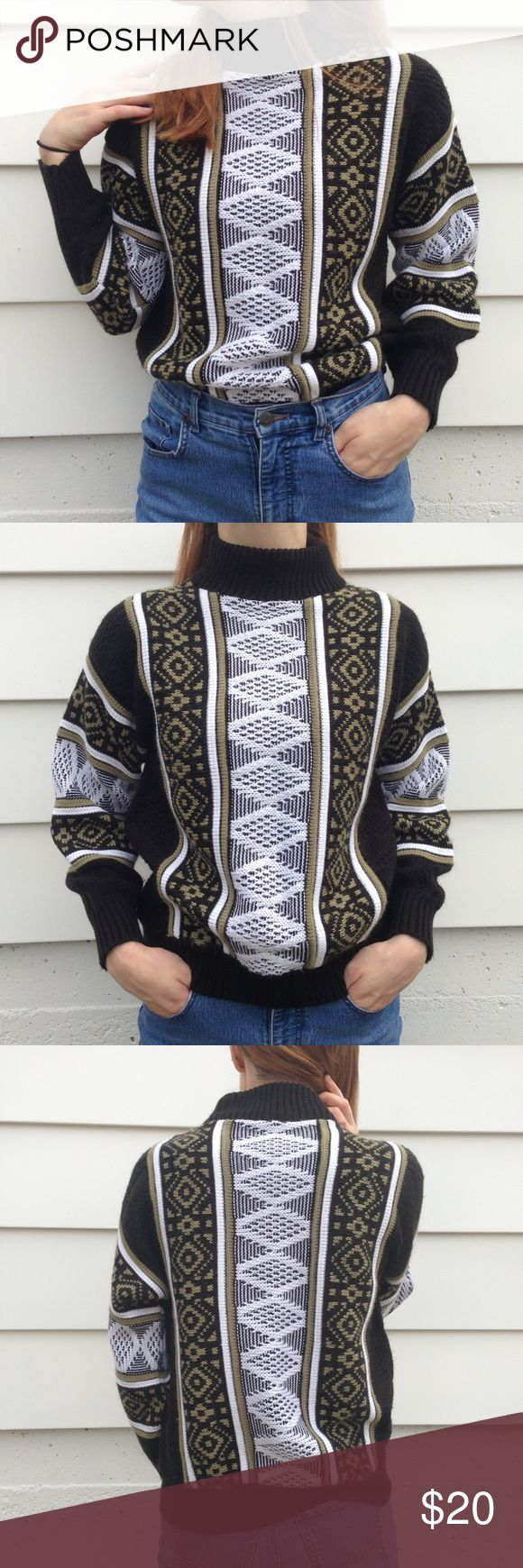 """Killer 70s/80s Argyle Cosby Grandpa Sweater This is a KILLER Cosby esc argyle sweater🔥 Model Measurements:  Height: 5'7 Bust: 33"""" Waist: 26""""  Garment Measurements: Labeled size: Not Labeled  Armpit to Armpit: 20"""" Shoulder to Hem: 22""""  Material: Not labeled   Labeled Brand: Lifton Place Time Period: 1980's  Vintage Condition:  Excellent Vintage Sweaters Cowl & Turtlenecks"""