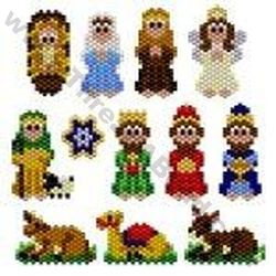 bead animals done in brick stitch | 12 x Nativity Charms Bead Pattern By ThreadABead