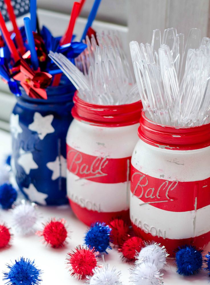 mason jars - red white and blue - stars and stripes