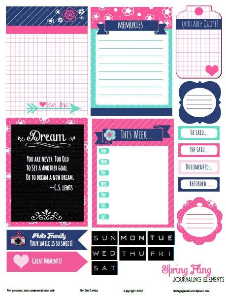 Free Printable Download Spring Fling Journaling Elements