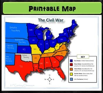 This colorful and simplified map of the United States shows the division between North and South during the Civil War, labeling each Southern states that seceded before or after the attack on Ft. Sumter as well as the Border states. This map will make a great addition to any lesson on sectionalism, secession or