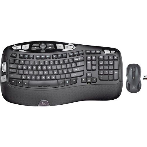 Logitech - MK550 Wireless Wave Keyboard and Mouse - Black - Larger Front