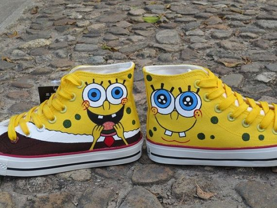 spongebob shoes Anime Shoes spongebob women by custompaintingshoes