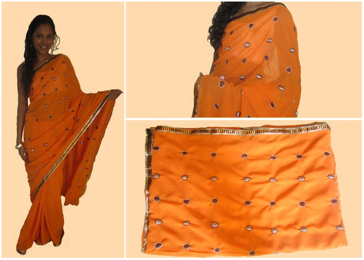 Bright Orange Georgette Saree. Code: MC001  Bright Orange Georgette saree with silver and bronze border. The pallu and the body of the saree have hand-stitched silver and brown motifs on them. The saree blouse is silver as on the border of the saree. Drop a comment below to place an order.