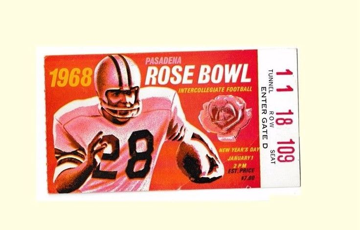 Rose Bowl Game Ticket Stub USC Vs Indiana 1968 O J Simpson Heisman Trophy  #USCTrojans