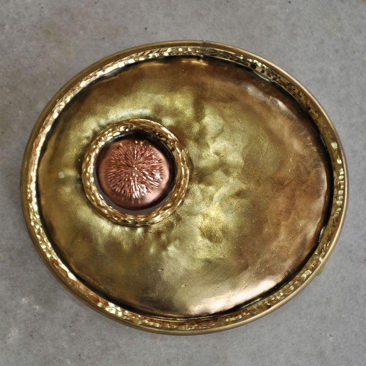 Handmade belt buckle shiny in brass and copper #Handmade