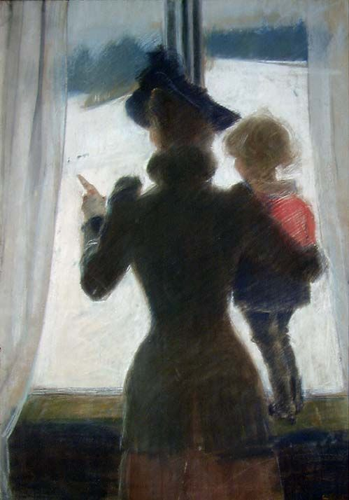 Oda and Per at the Window - Christian Krohg 1892 Norwegian 1852-1925 Pastel on paper