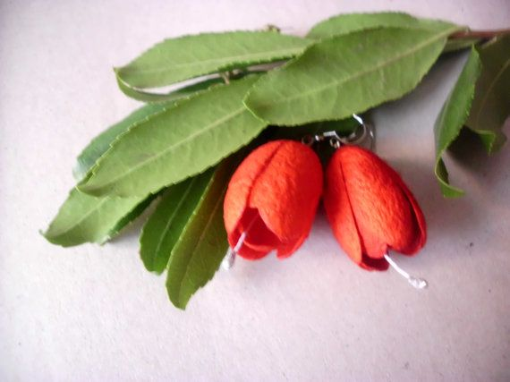 Earrings with a cocoon/Red earrings/Earrings by Theworldofjewelry, $17.00