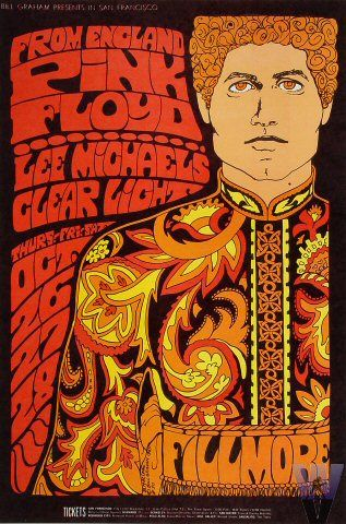 "Performers:        Pink Floyd      Lee Michaels      Clear Light       	        Artist:          Bonnie MacLean      Date:      Oct 26, 1967 -      Oct 28, 1967      Venue:      Fillmore Auditorium (San Francisco, CA)      Size:      14"" x 21""      Price:      $48.00 - $575.00"