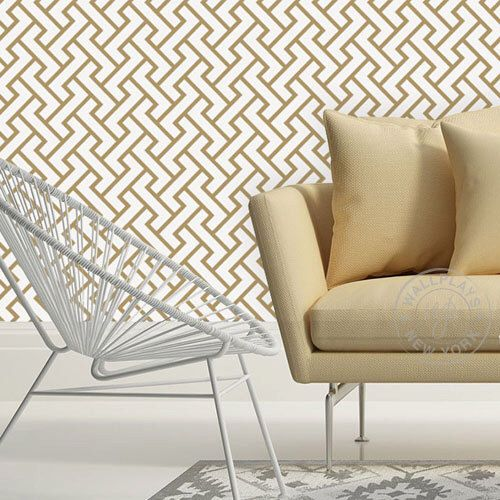 Retro Geometric Pattern Gold Removable Wallpaper - Peel & Stick, Repositionable Fabric by WallPlays on Etsy https://www.etsy.com/listing/196706934/retro-geometric-pattern-gold-removable