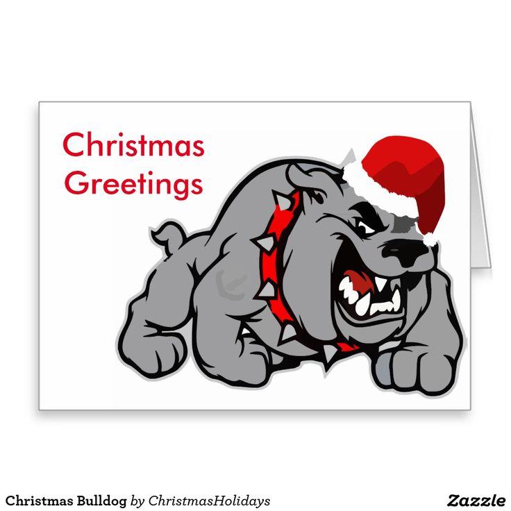 Christmas Bulldog Greeting Card Perfect For Everyone Who Loves