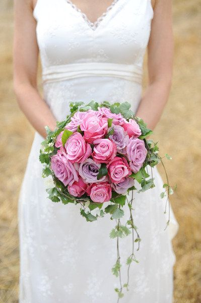 Beautiful Wedding Bouquet in Pink and Lilac Roses Country Garden