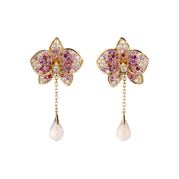Caresse d'orchidées par Cartier earrings - Pink gold, diamonds, coloured stones - Fine Earrings for women - Cartier