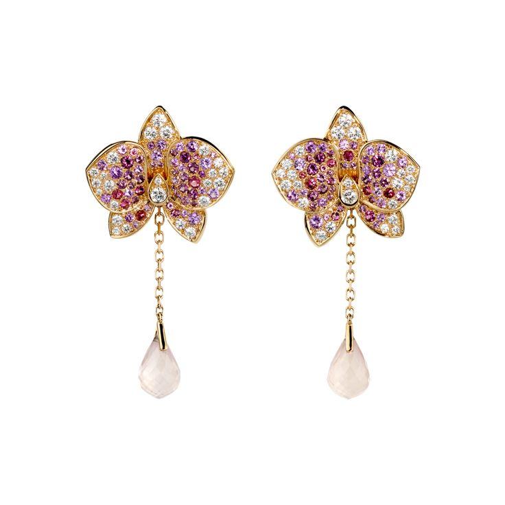CARESSE D'ORCHIDÉES PAR CARTIER EARRINGS  Pink gold, diamonds, coloured stones, 2012-2013