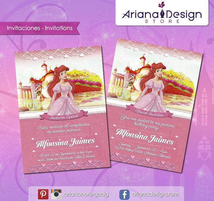 #printable #invitation #disneyprincess #thelittlemermaid #ariel #princessariel #lasirenita #arianadesignstore #invitacion #fiestainfantil #cumpleaños