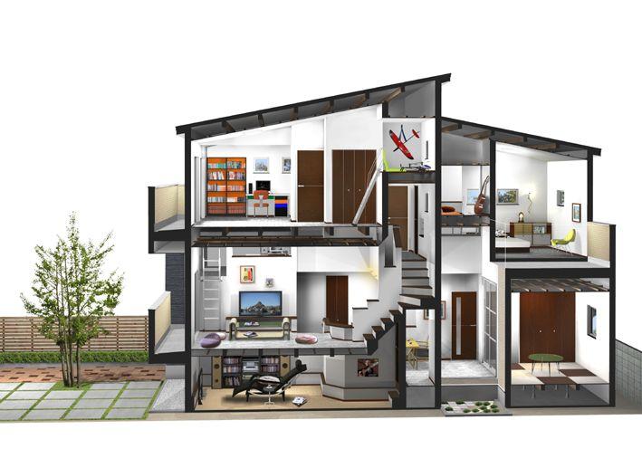 住宅 断面 イラスト の画像検索結果 住宅 イラスト