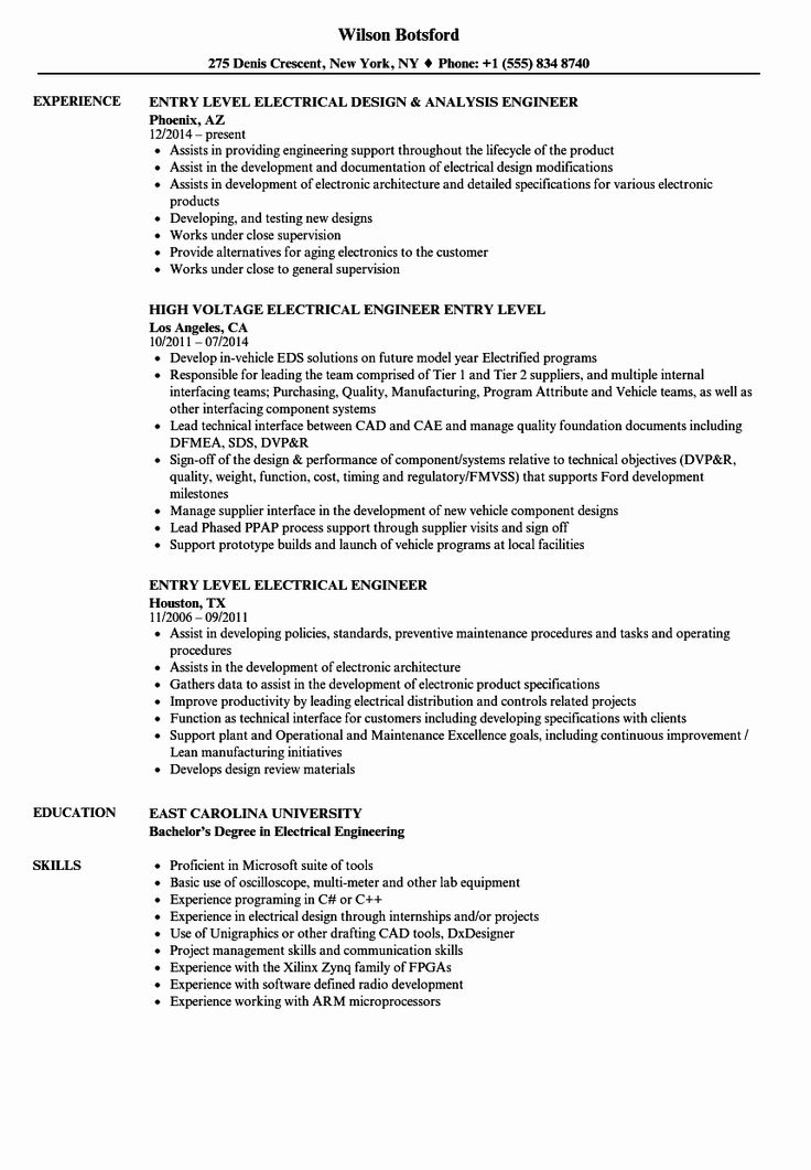 Electrical Engineer Resume Sample Inspirational Entry