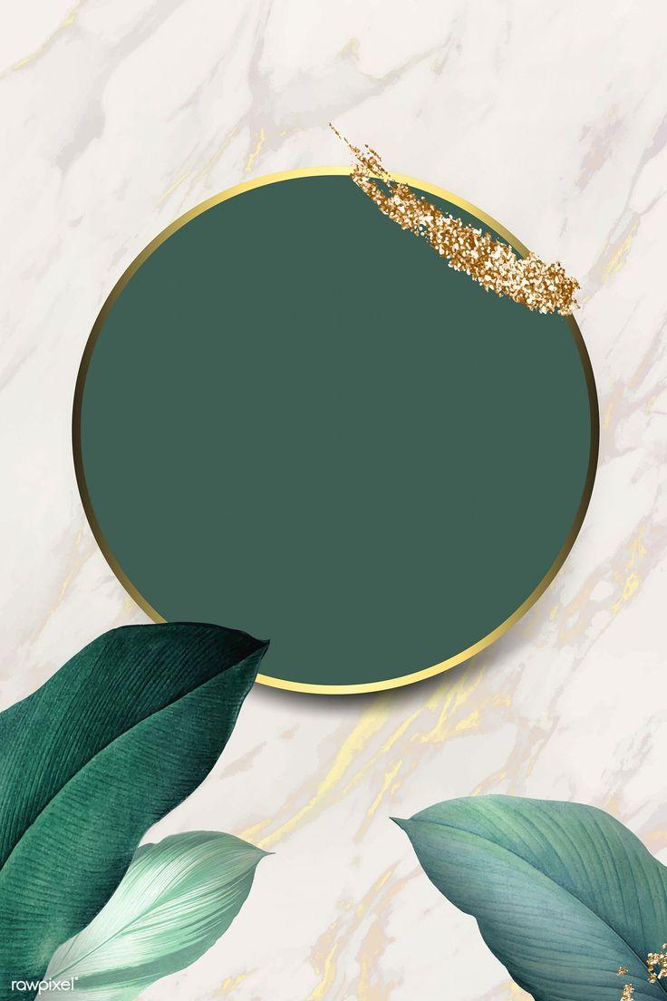 Download premium illustration of Round foliage frame on white marble