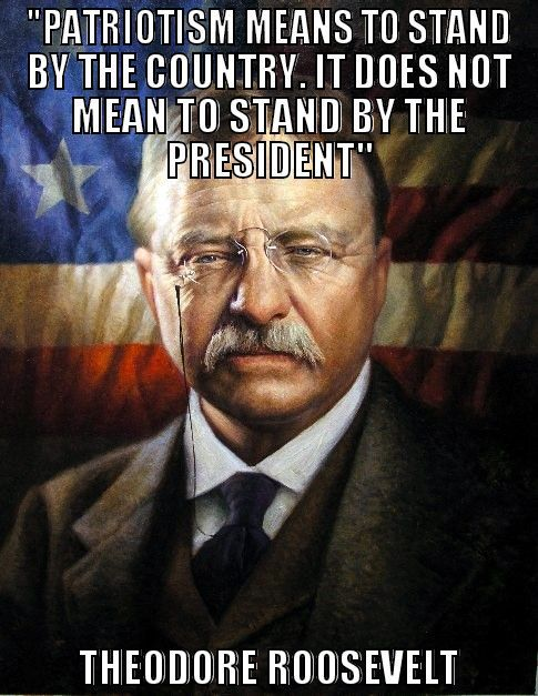 "A reminder! : ""Patriotism means to stand by the country. It does not mean to stand by the President."" Pinner pinned the complete quote ... ""or any other public official save exactly to the degree in which he himself stands by the country. It is patriotic to support him in so far as he efficiently serves the country. It is unpatriotic not to oppose him to the exact extent that by inefficiency or otherwise he fails in his duty to stand by the country."" - President Theodore Roosevelt, 1918."