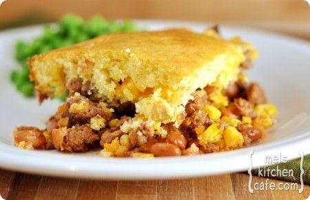 Cowboy Dinner - Cheesy, beefy Cornbread version of shepherds pie by Mel's Kitchen Cafe