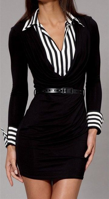 Formal B & W Stripe Shirt & Black Dress with Belt......Black White Business Elegant Classy